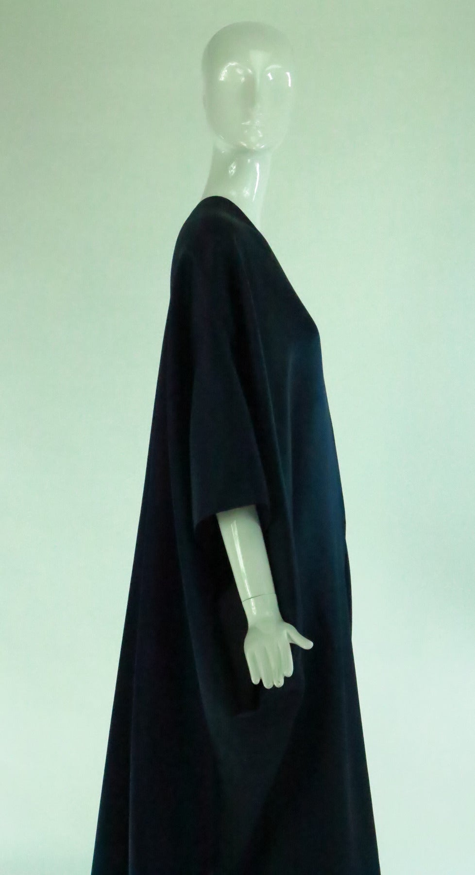 1960s Stavropoulos deep teal blue silk twill kimono style evening coat 7