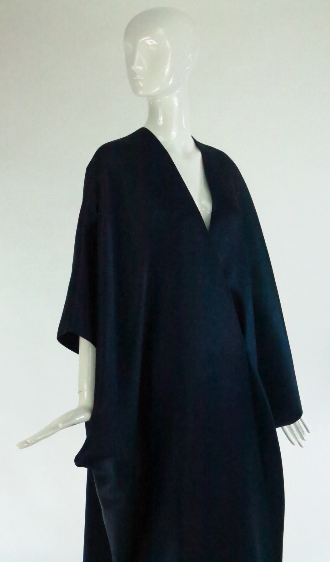 1960s Stavropoulos deep teal blue silk twill kimono style evening coat 8