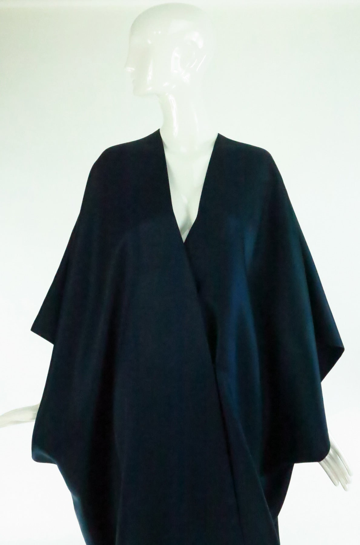 1960s Stavropoulos deep teal blue silk twill kimono style evening coat 9