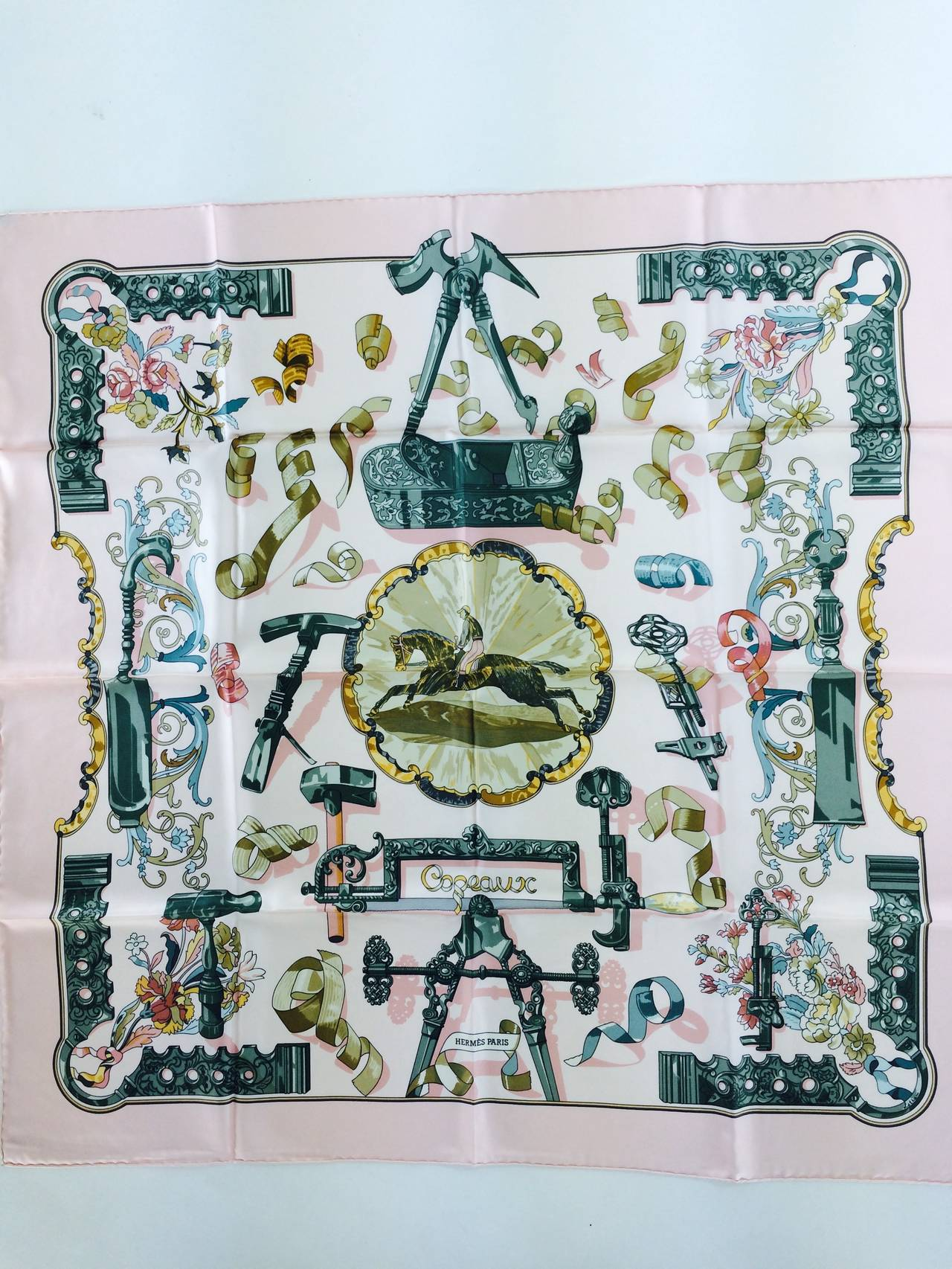 "1990s Hermes Copeaux silk twill scarf by Cathy Latham 36"" x 36"" For Sale 1"