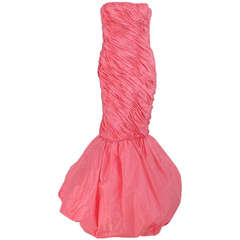 1980s Murray Arbeid fitted draped pink silk bubble hem gown