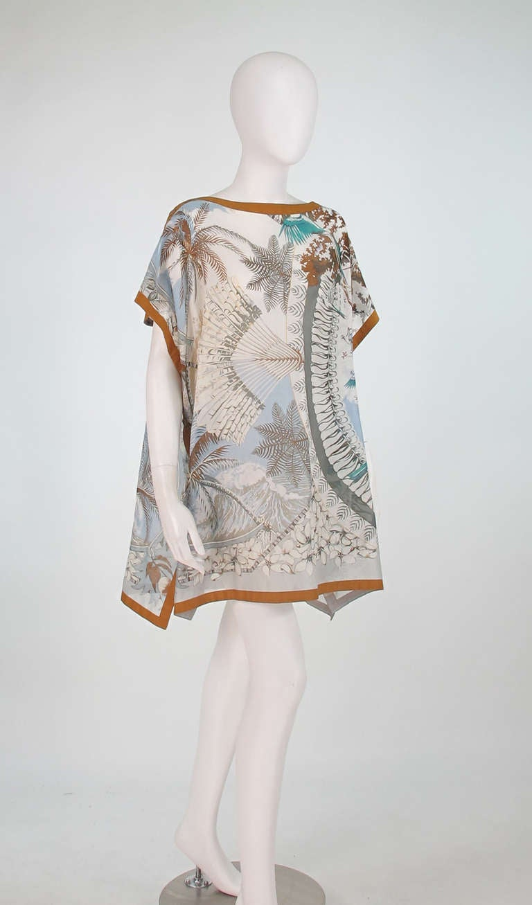 Hermes NWT Aloha tropical cotton caftan tunic 2