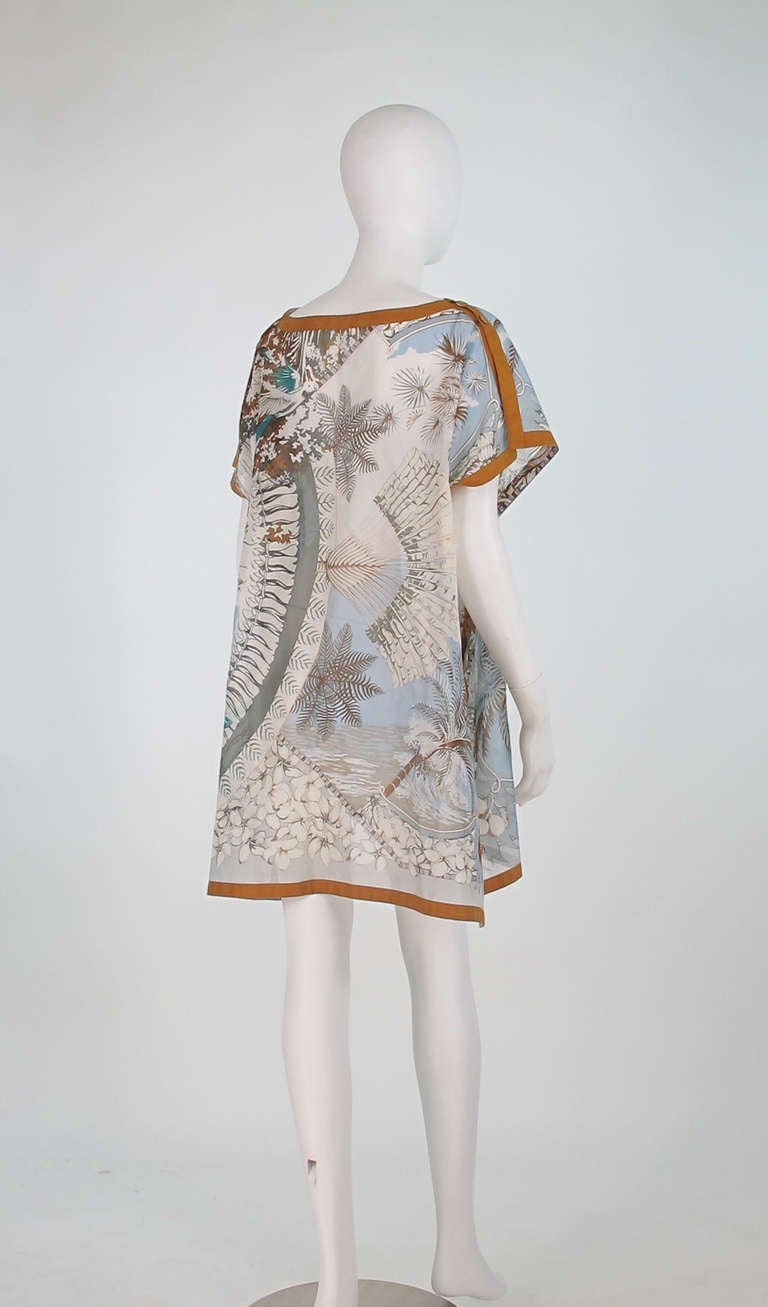 Hermes NWT Aloha tropical cotton caftan tunic 4