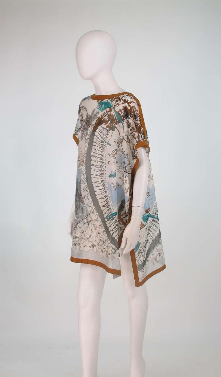 Hermes NWT Aloha tropical cotton caftan tunic 8
