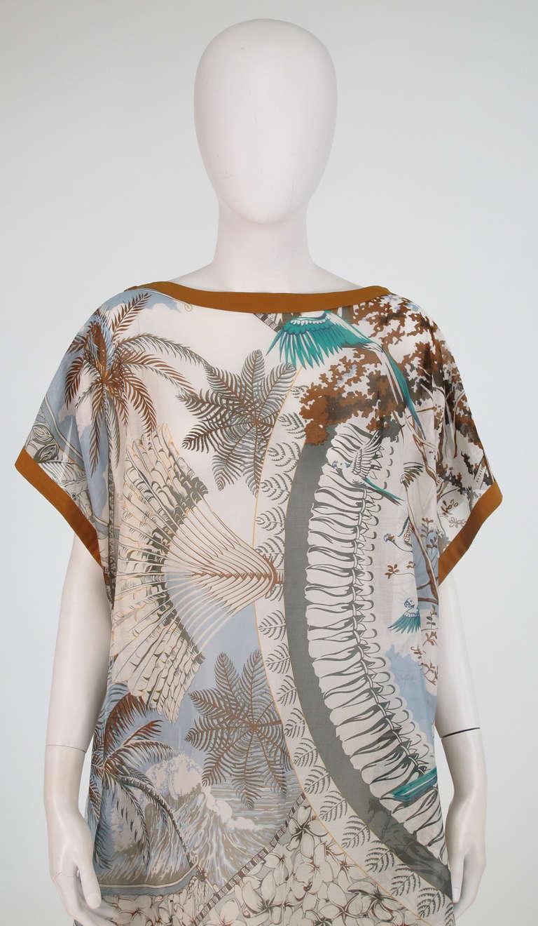 Hermes NWT Aloha tropical cotton caftan tunic 9