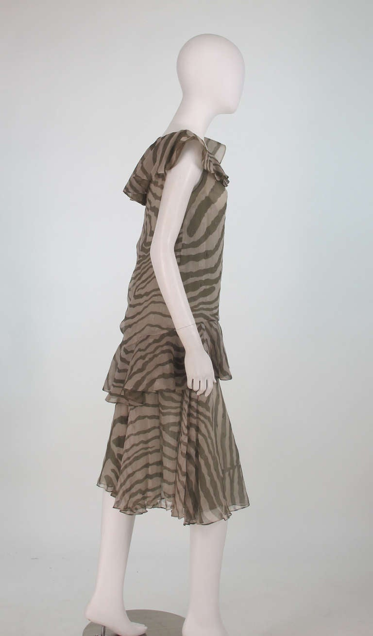 Gray 1980s Bruce Oldfield zebra metallic silk chiffon flutter dress For Sale