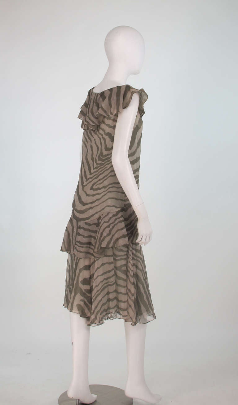 1980s Bruce Oldfield zebra metallic silk chiffon flutter dress In Excellent Condition For Sale In West Palm Beach, FL