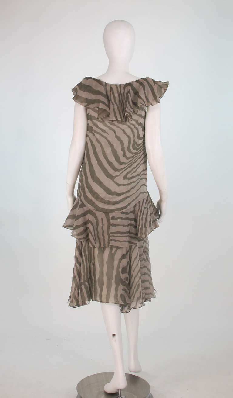 Women's 1980s Bruce Oldfield zebra metallic silk chiffon flutter dress For Sale