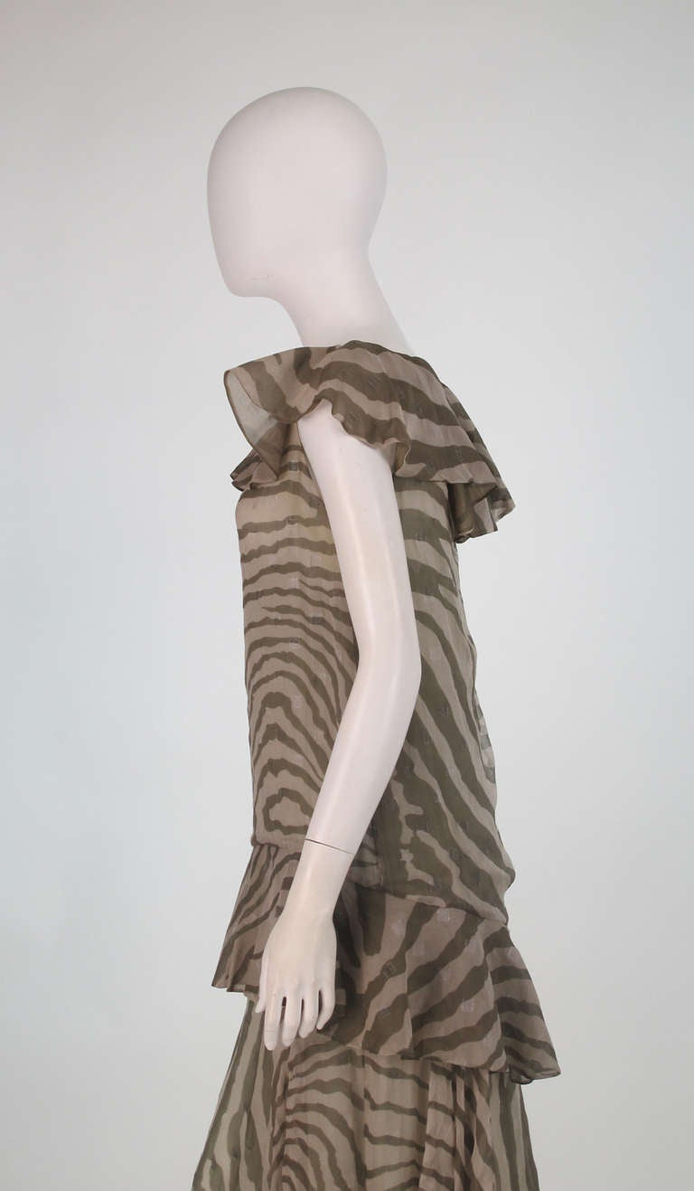 1980s Bruce Oldfield zebra metallic silk chiffon flutter dress For Sale 2