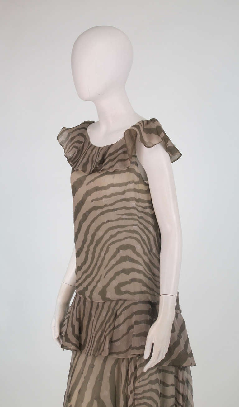 1980s Bruce Oldfield zebra metallic silk chiffon flutter dress For Sale 3