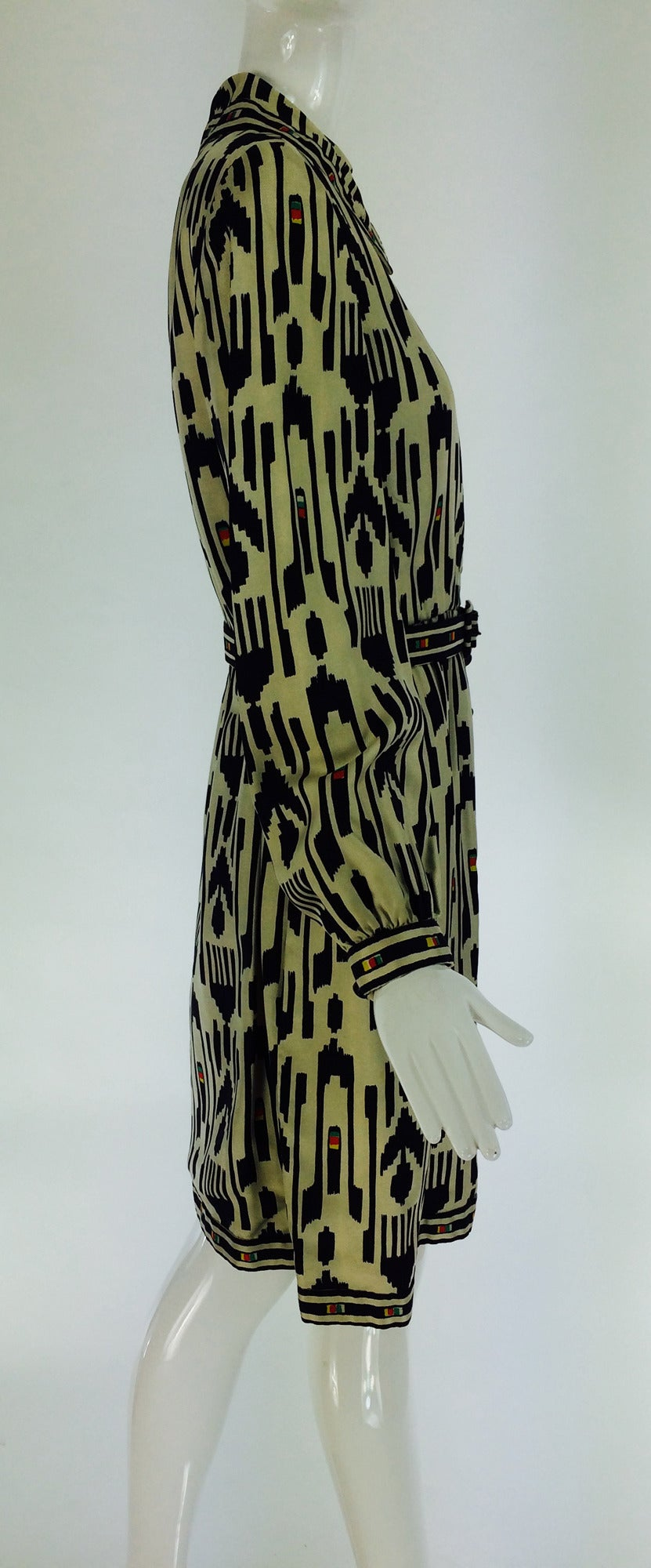 1960s Donald Brooks silk twill ikat print tribal coat dress 7