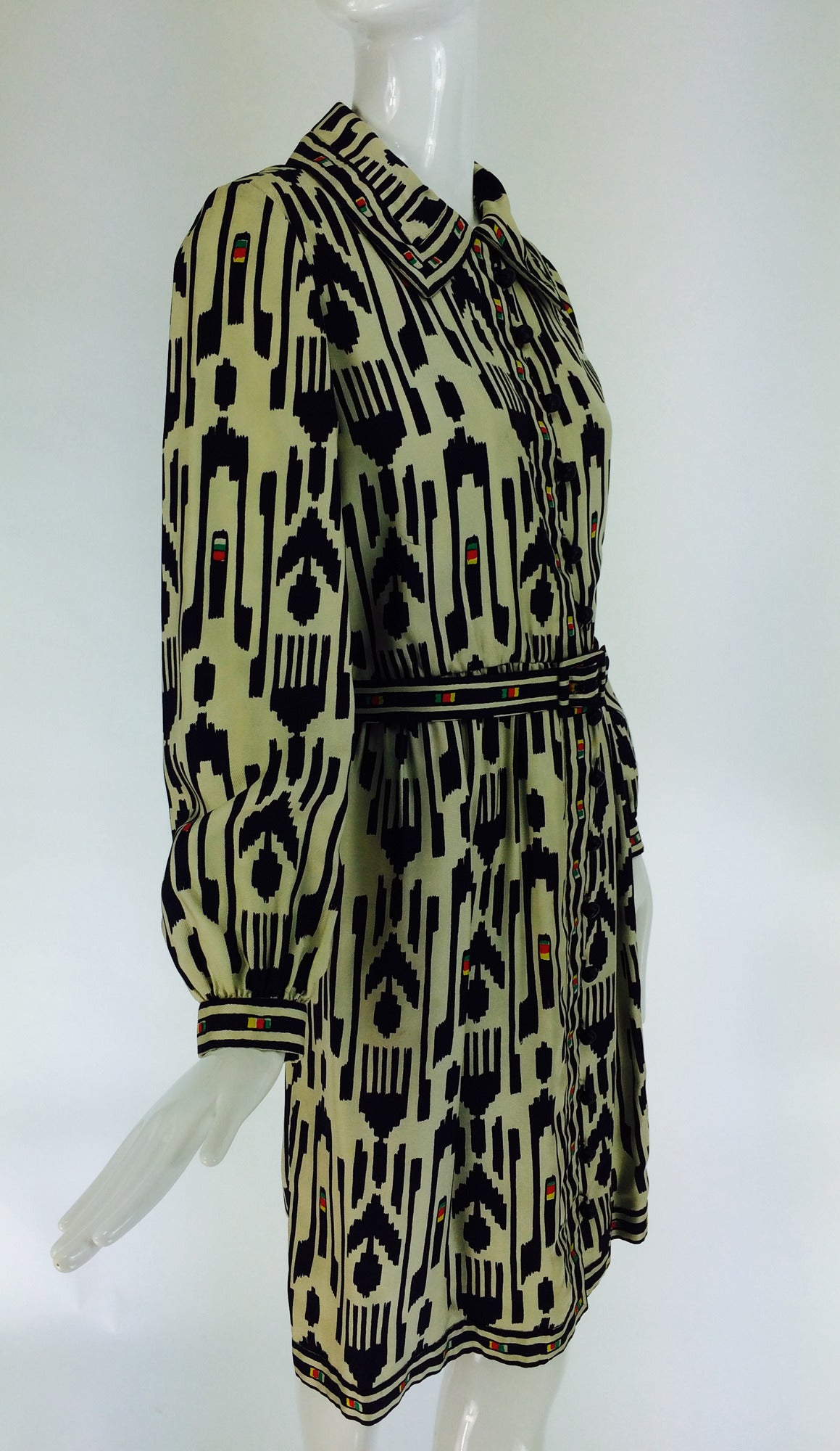 1960s Donald Brooks silk twill ikat print tribal coat dress For Sale 1