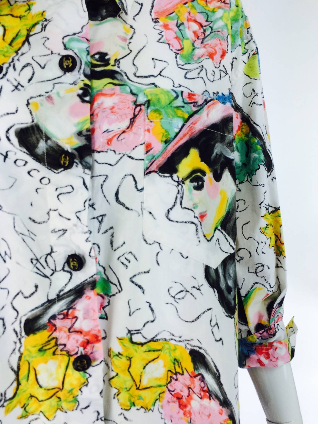1980s Chanel Mme Coco painterly cotton tunic big shirt For Sale 5