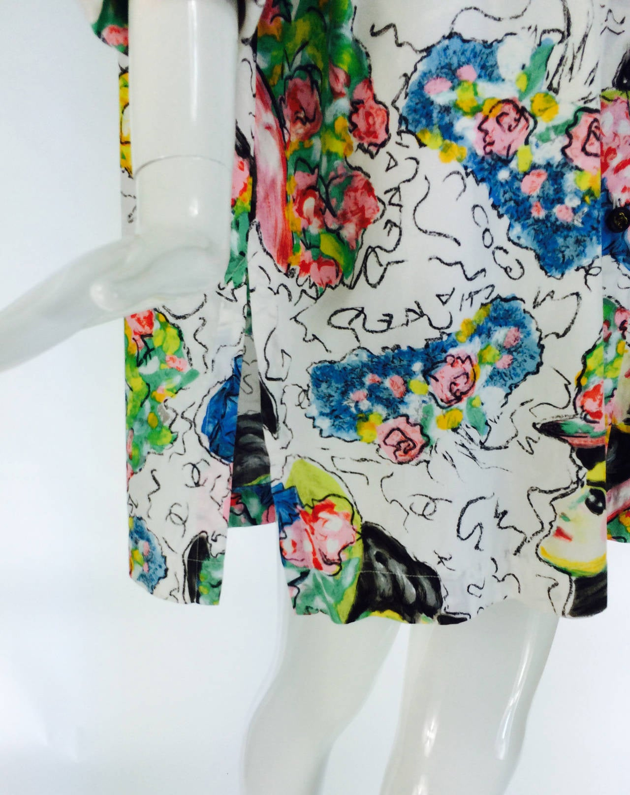 1980s Chanel Mme Coco painterly cotton tunic big shirt For Sale 3
