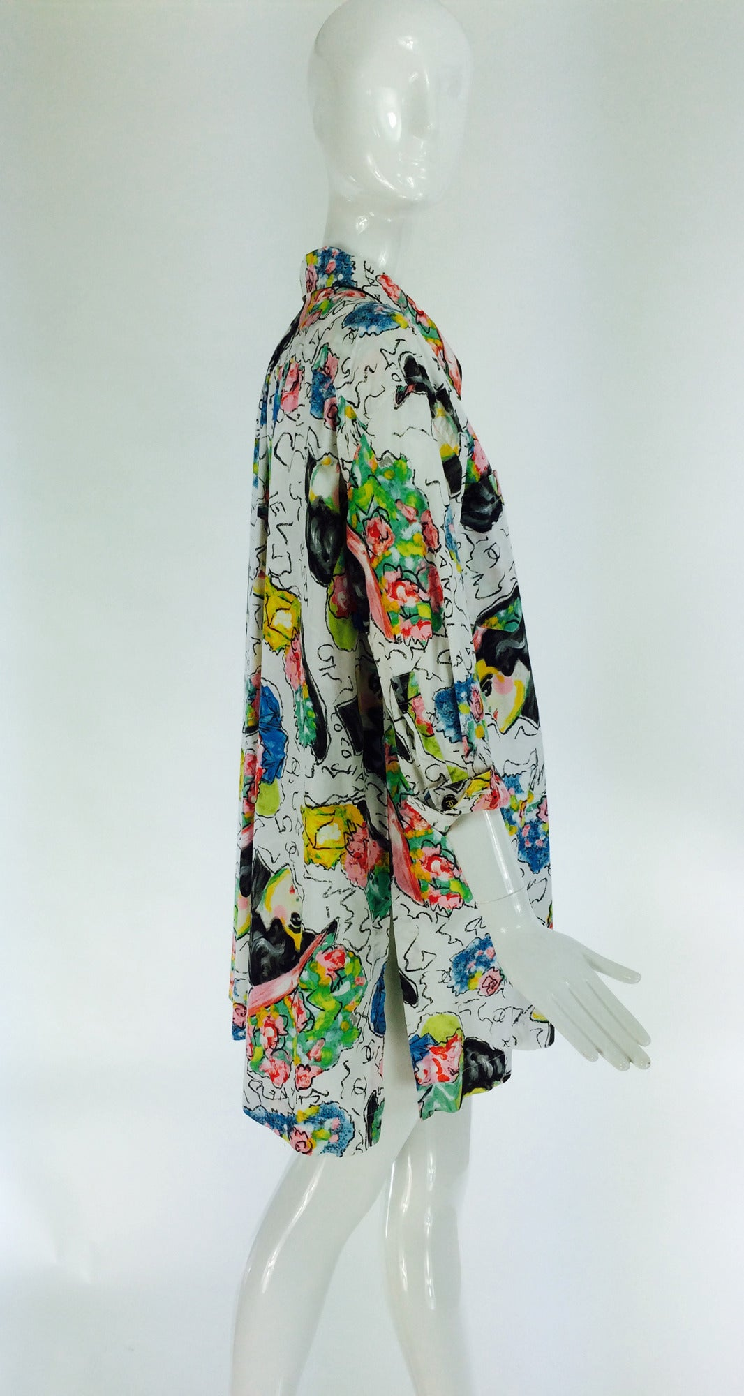 1980s Chanel Mme Coco painterly cotton tunic big shirt For Sale 2