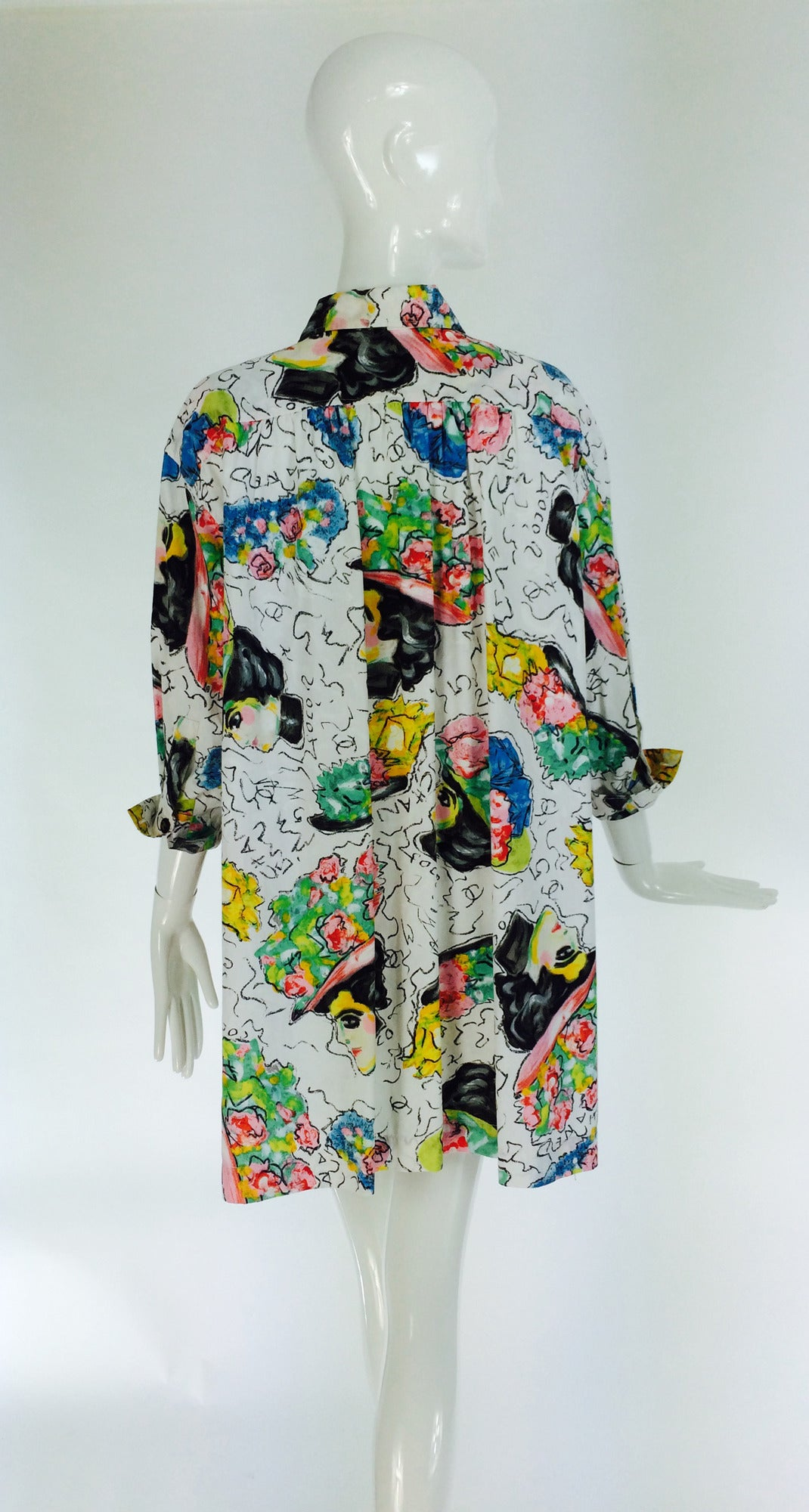 1980s Chanel Mme Coco painterly cotton tunic big shirt For Sale 1
