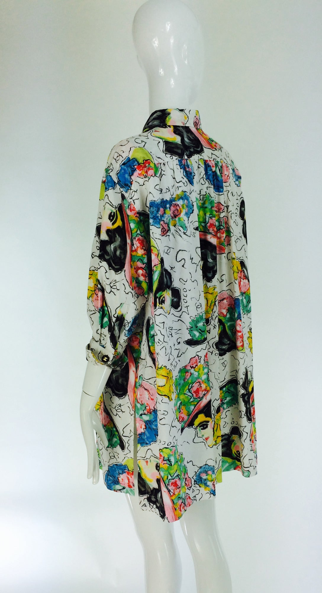 Women's 1980s Chanel Mme Coco painterly cotton tunic big shirt For Sale