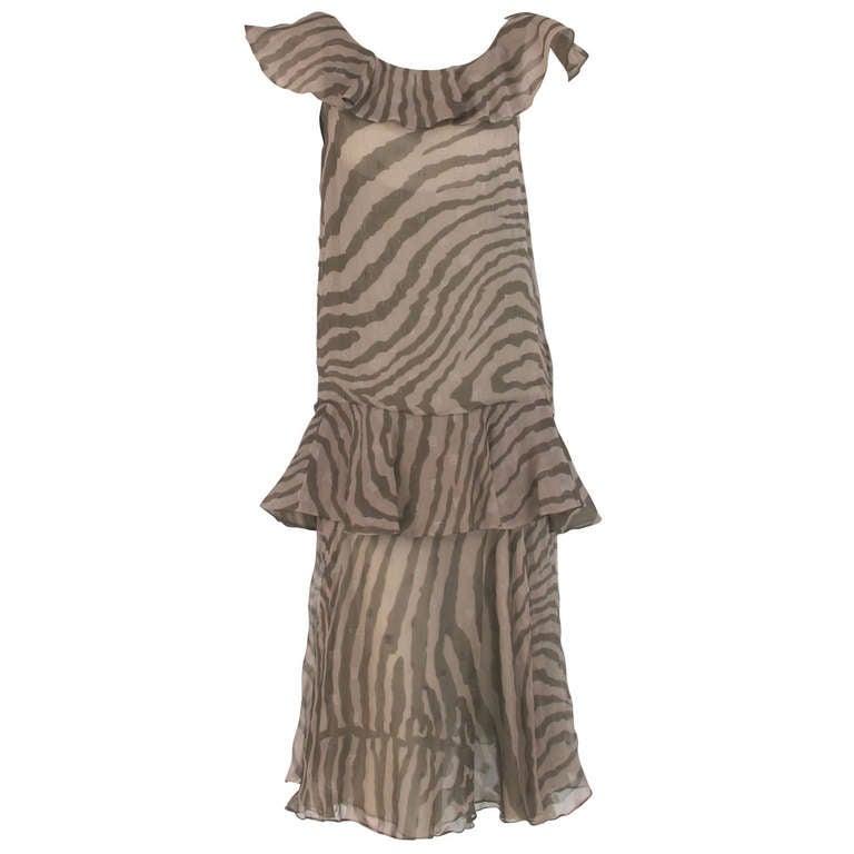 1980s Bruce Oldfield zebra metallic silk chiffon flutter dress