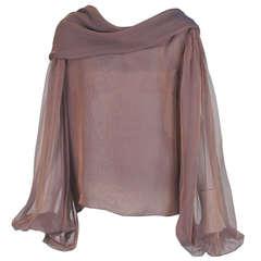 1980s Carolyne Roehm iridescent silk chiffon cowl neck top