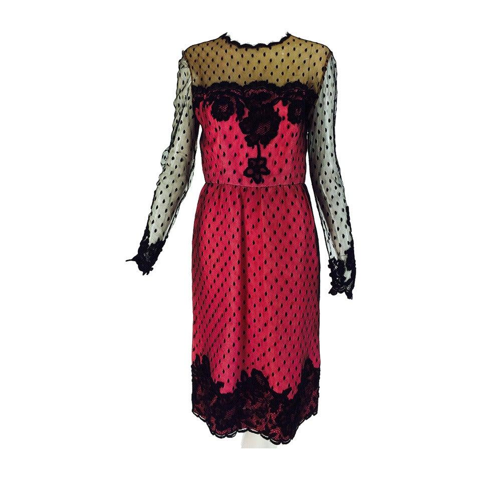 Fuschia and black lace dress