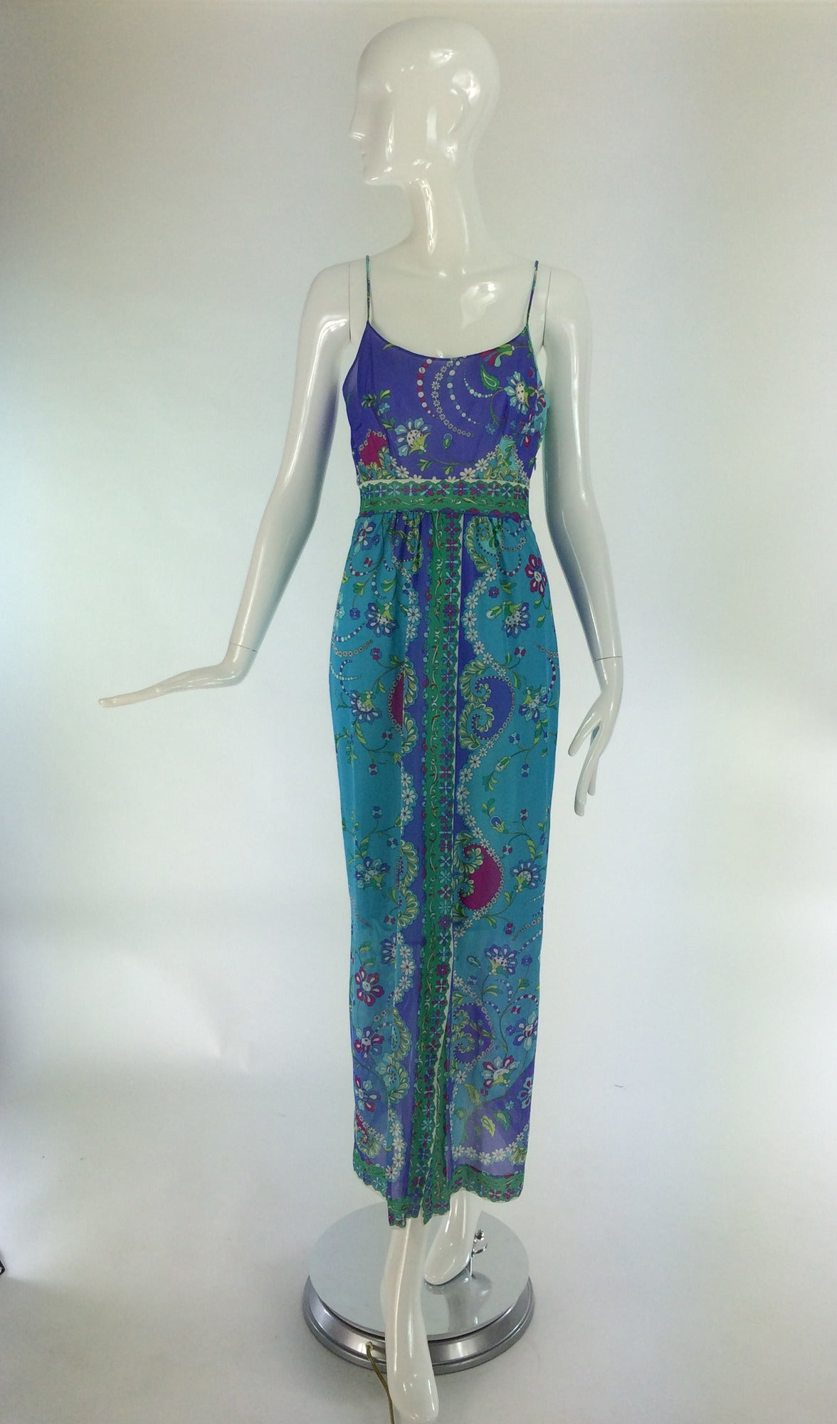 Emilio Pucci for Formfit Rogers at home gown from the 1960s...Dramatic colours bring to mind tropical waters...Perfect for pool side entertaining...Fitted scoop neck bodice is darted, has narrow shoulder straps and has a band below the bust...Seamed