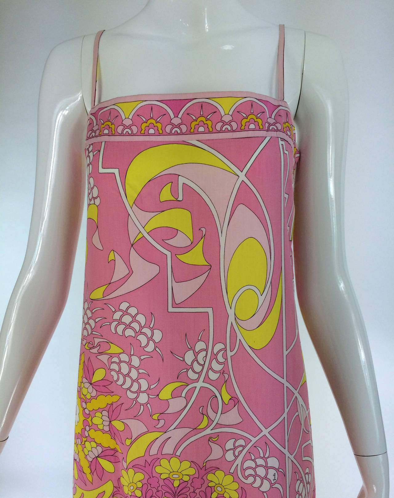 Emilio Pucci printed cotton maxi dress out of the ordinary design 1960s...The perfect Pucci summer dress...Vibrant printed cool cotton maxi dres....In shades of pink with pops of yellow and off white...Slip stye maxi dress that has a banded bodice,