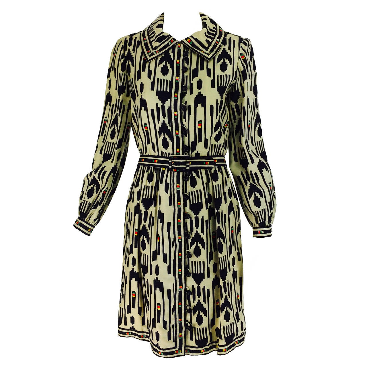 1960s Donald Brooks silk twill ikat print tribal coat dress 1