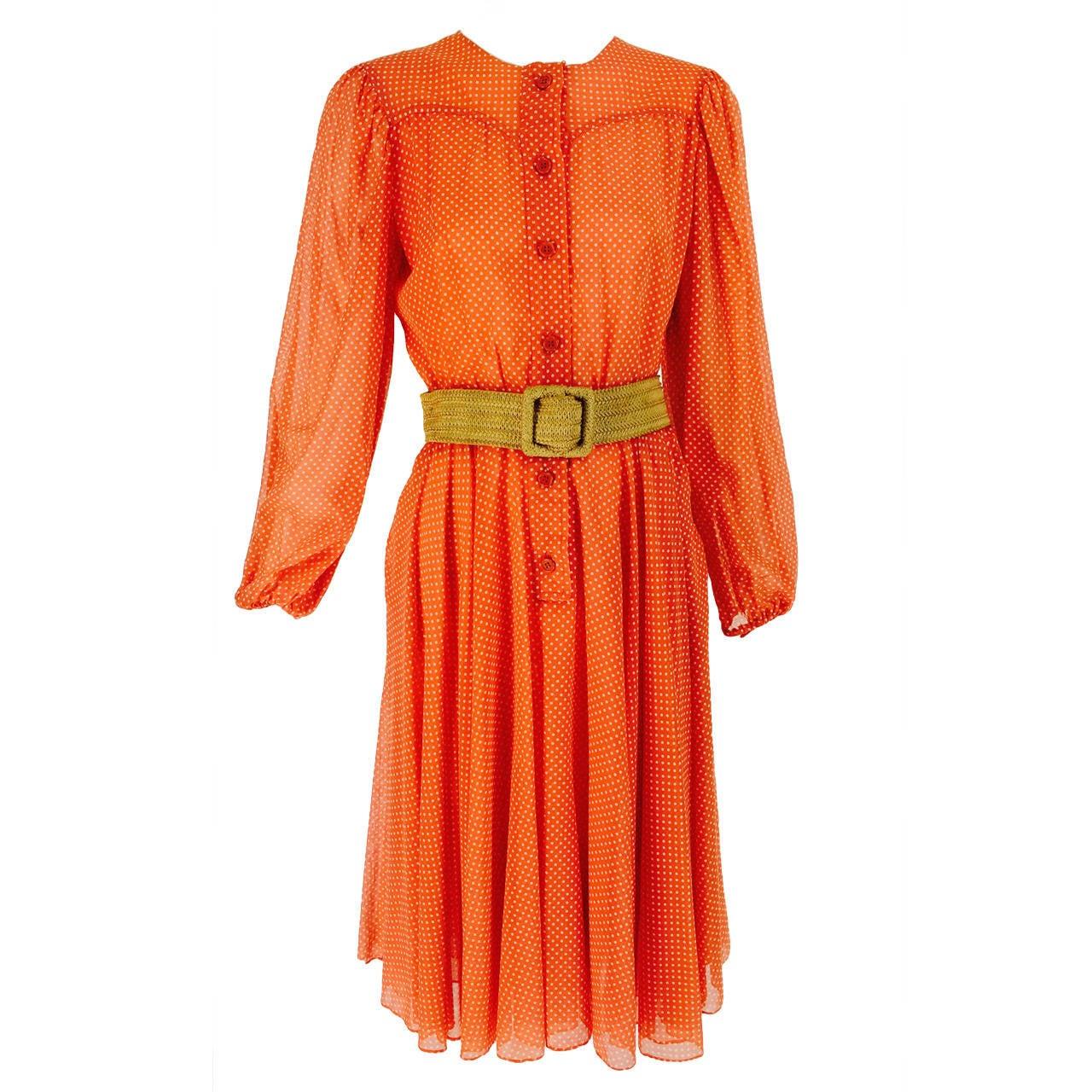 1970s Oscar de la Renta mini dot cotton voile dress