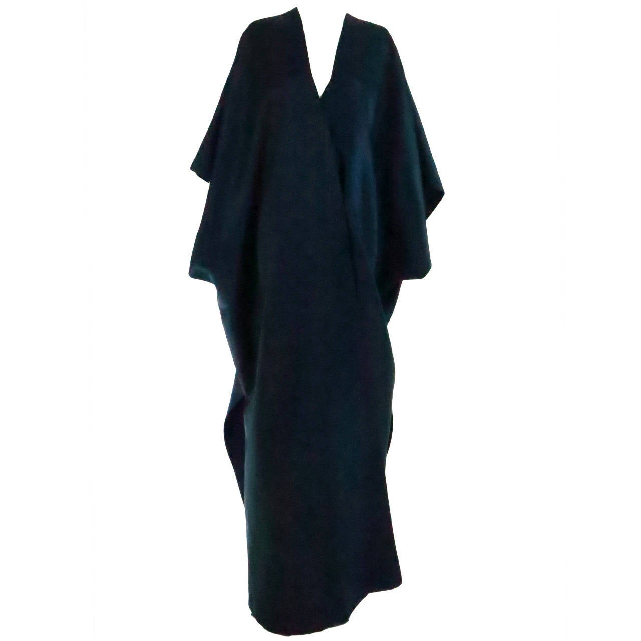 1960s Stavropoulos deep teal blue silk twill kimono style evening coat 1