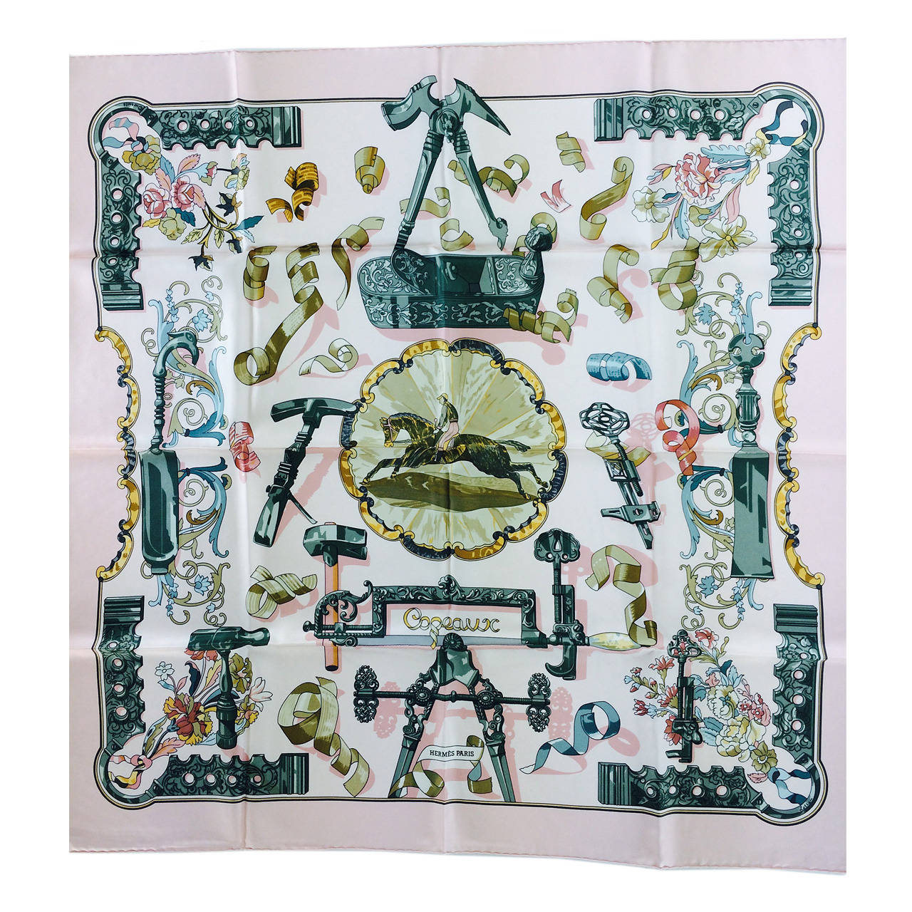"1990s Hermes Copeaux silk twill scarf by Cathy Latham 36"" x 36"" For Sale"