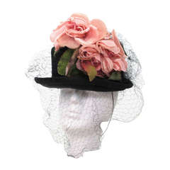 Legroux Soeurs black silk hat with silk velvet roses, 1950s