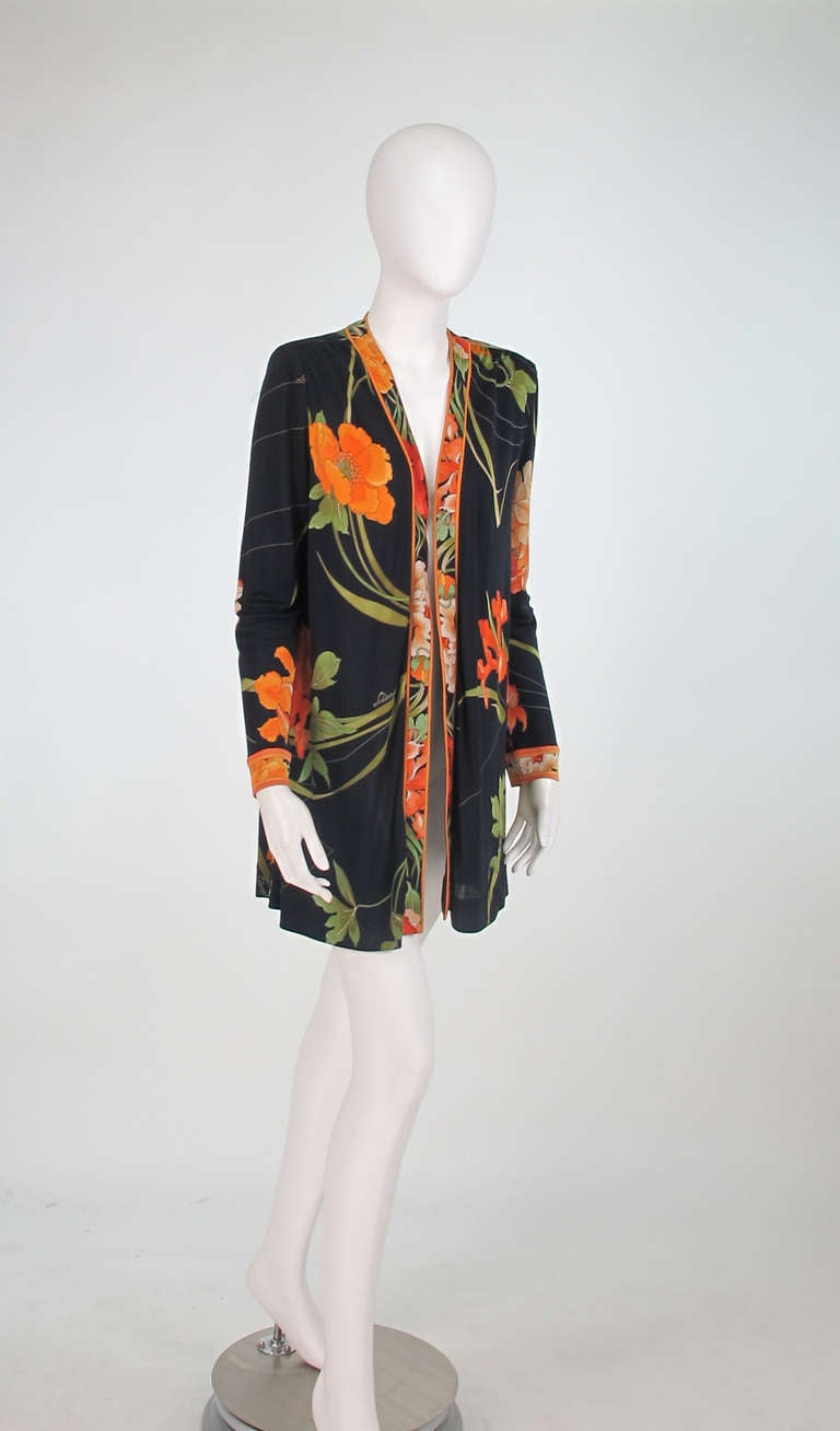 1970s Leonard Paris Tiger Lilly silk coat 2