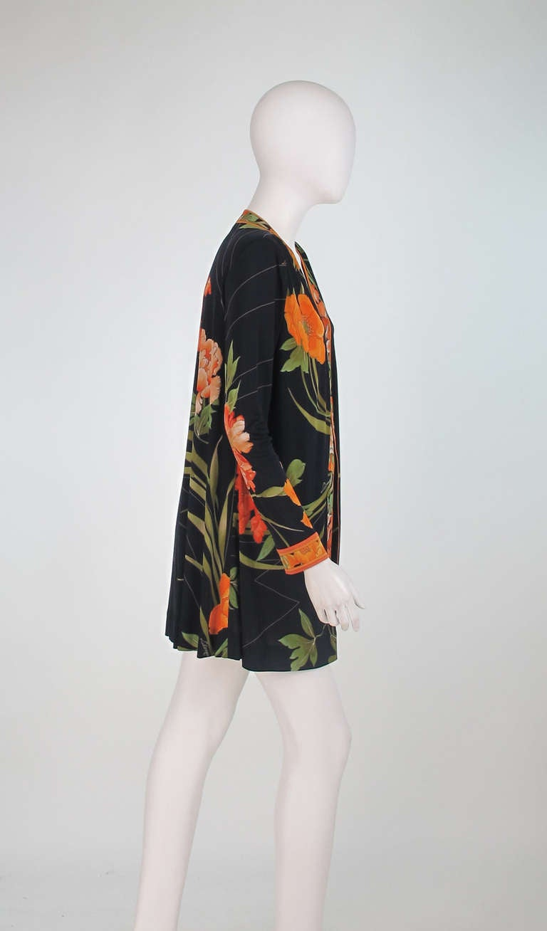 1970s Leonard Paris Tiger Lilly silk coat 3