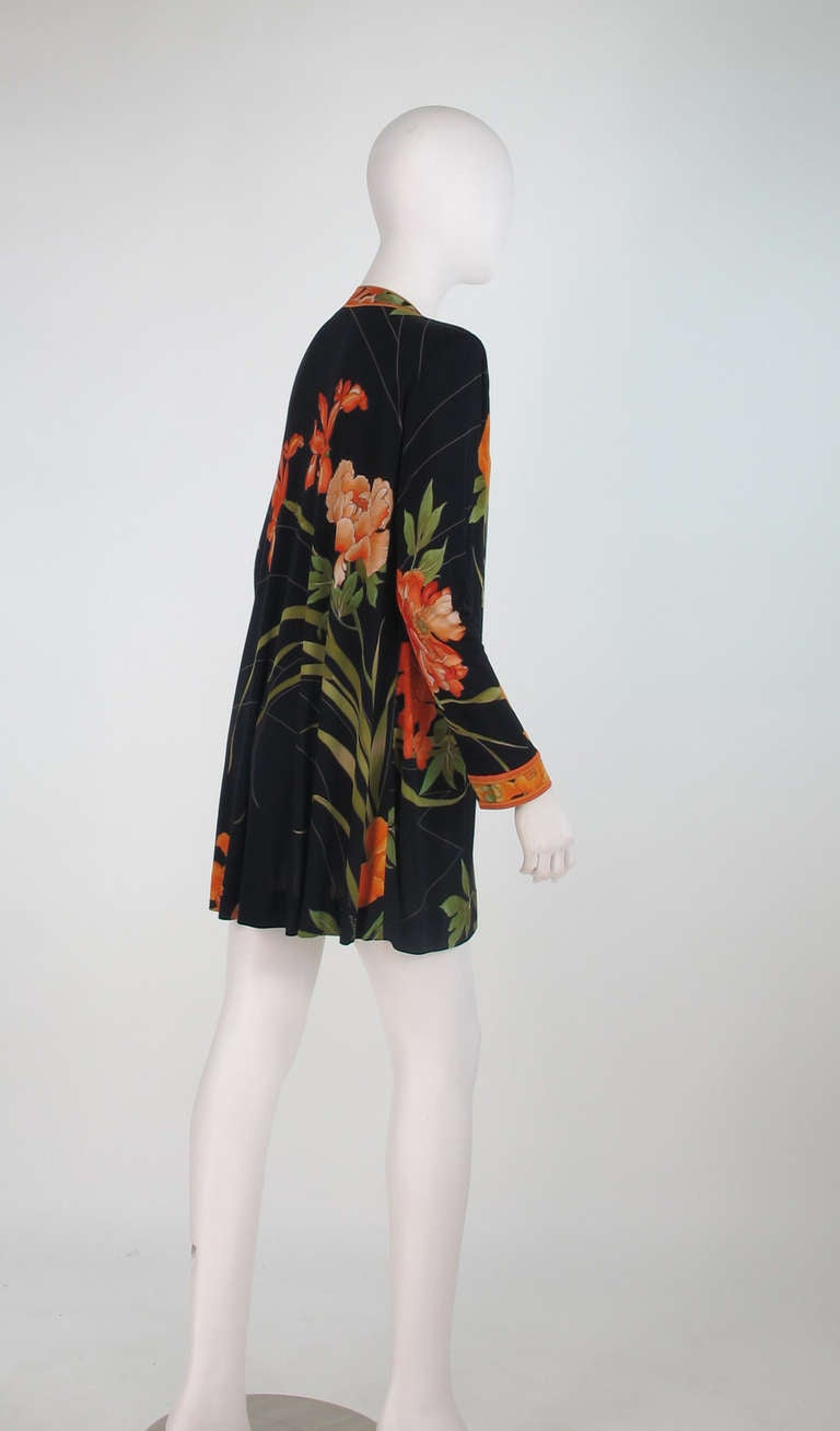 1970s Leonard Paris Tiger Lilly silk coat 4