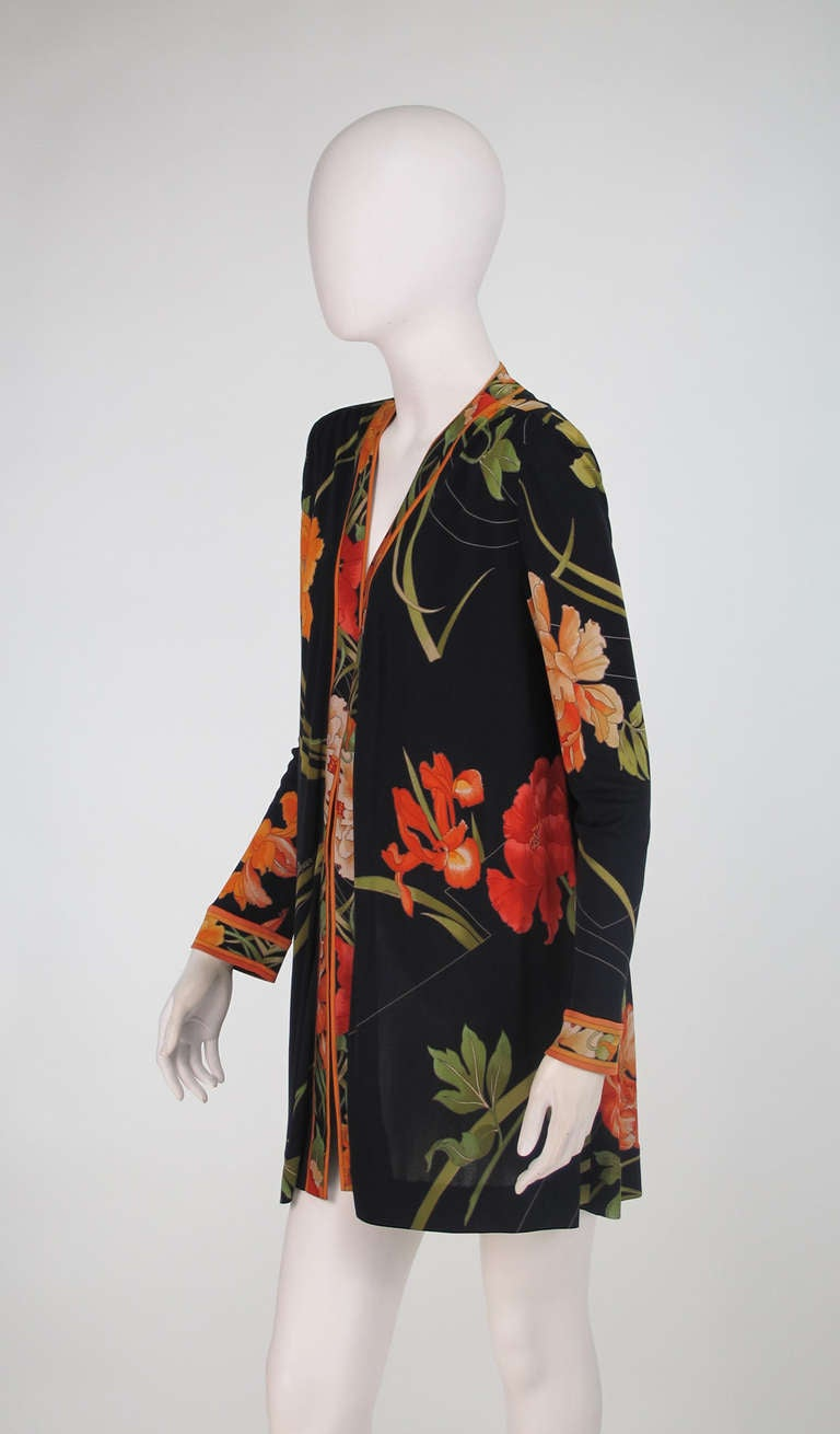 1970s Leonard Paris Tiger Lilly silk coat 8
