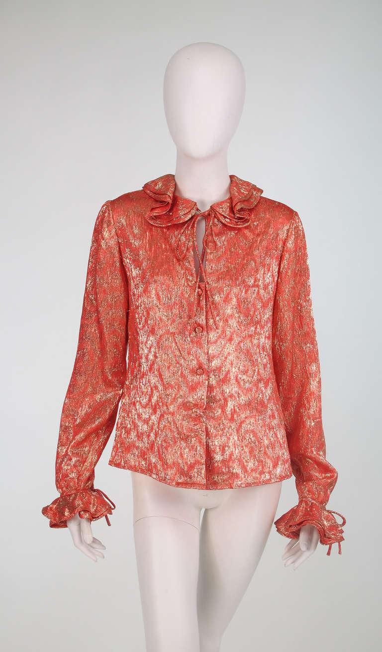 1970s Adolfo coral & gold metallic blouse 2