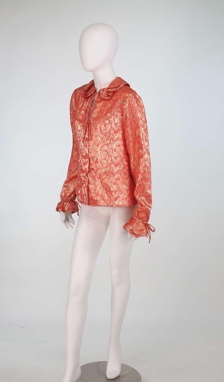 1970s Adolfo coral & gold metallic blouse 3