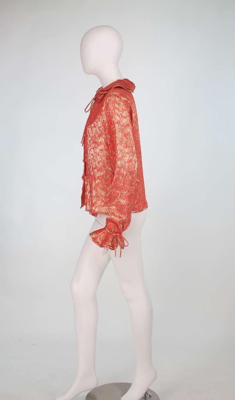 1970s Adolfo coral & gold metallic blouse 4