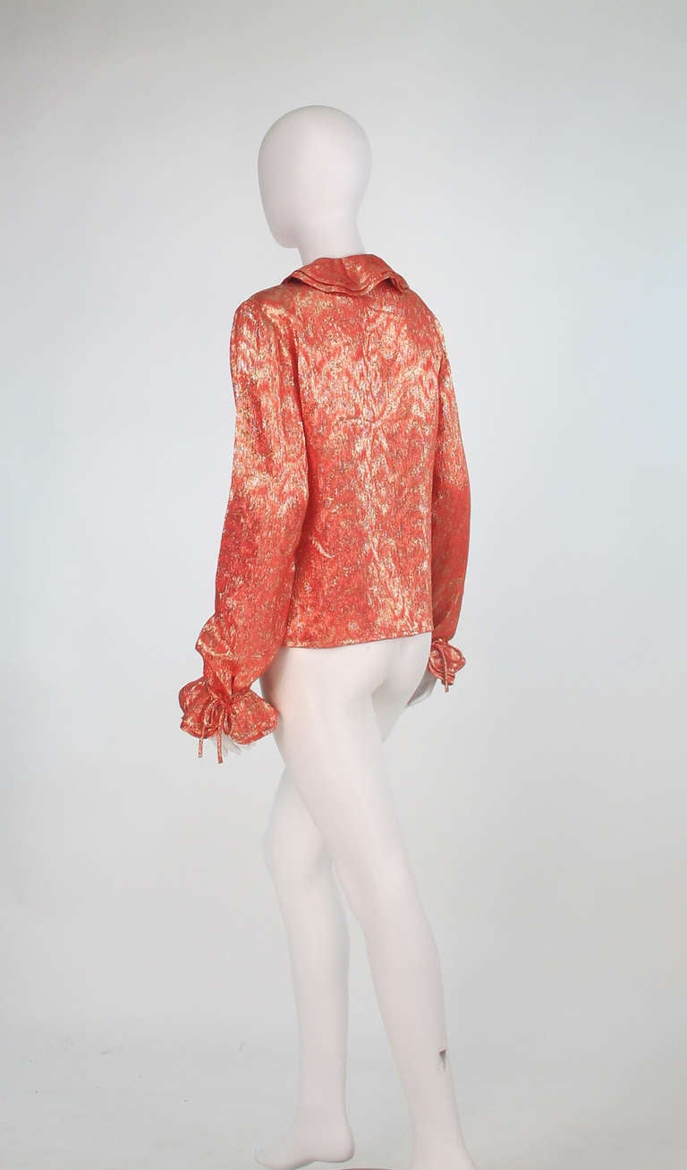 1970s Adolfo coral & gold metallic blouse 5