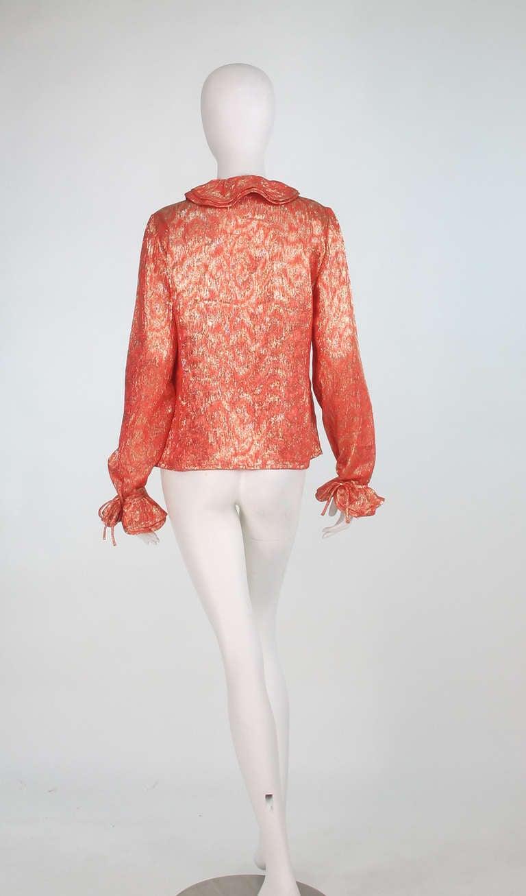 1970s Adolfo coral & gold metallic blouse 6