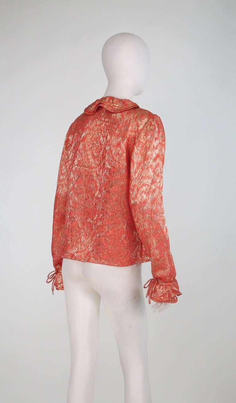 1970s Adolfo coral & gold metallic blouse 7
