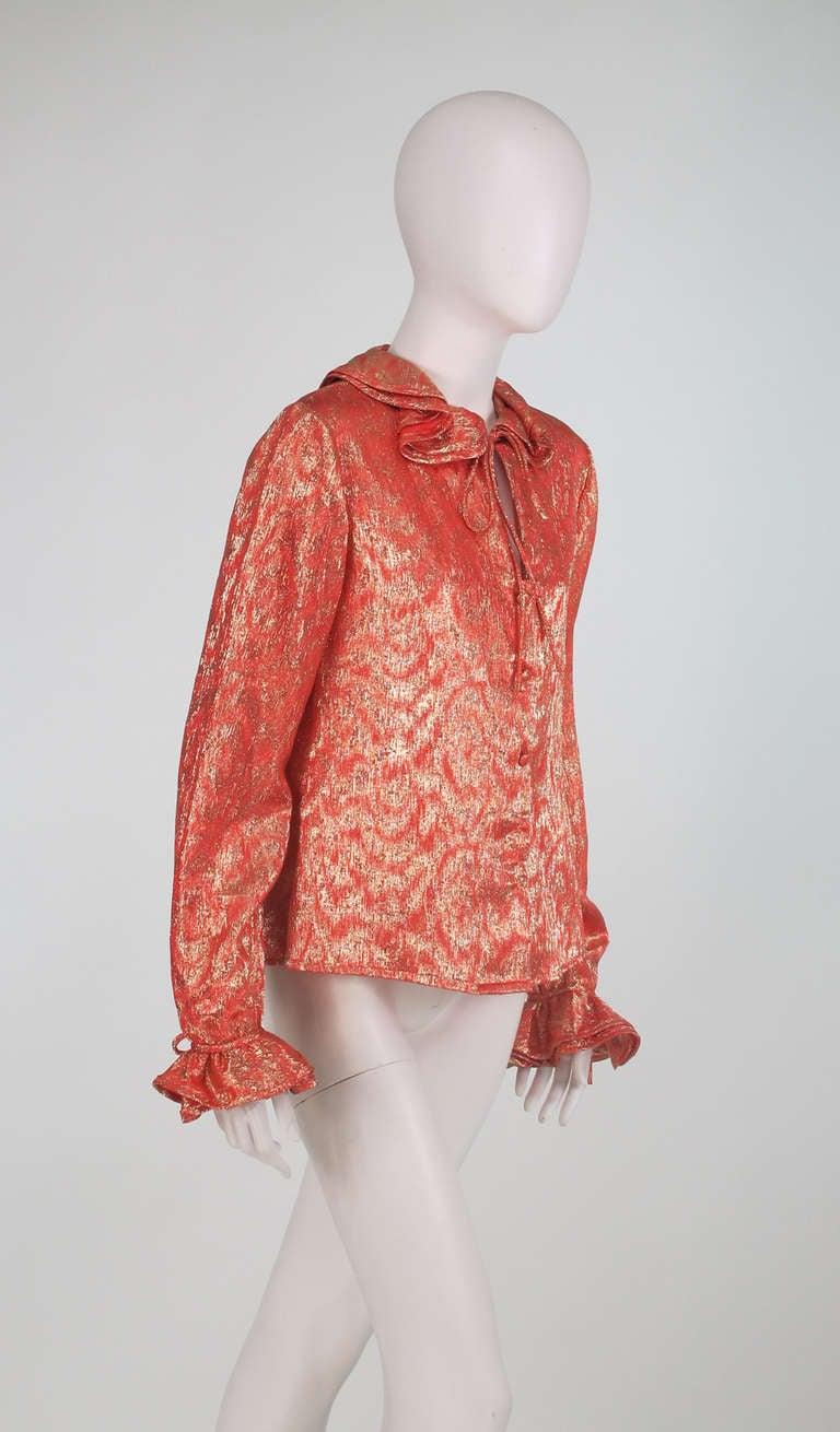 1970s Adolfo coral & gold metallic blouse 8