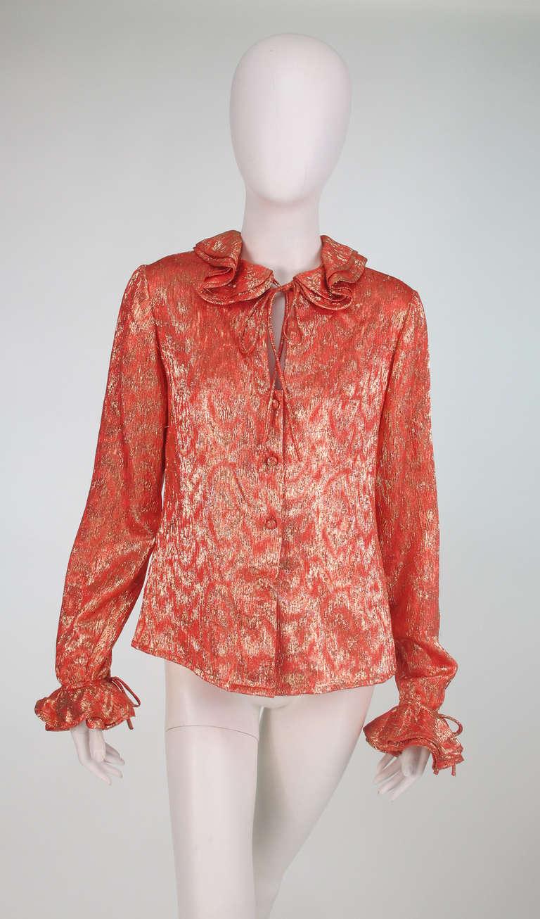 1970s Adolfo coral & gold metallic blouse 9
