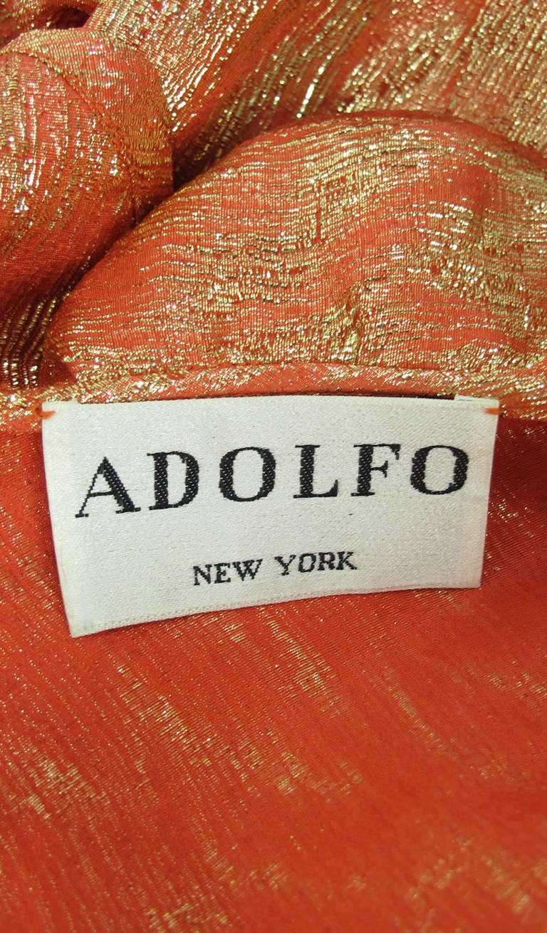 1970s Adolfo coral & gold metallic blouse 10