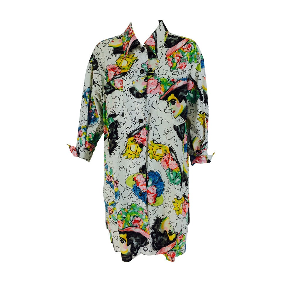 1980s Chanel Mme Coco painterly cotton tunic big shirt For Sale