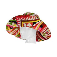 Pucci cotton printed wide brim sun hat