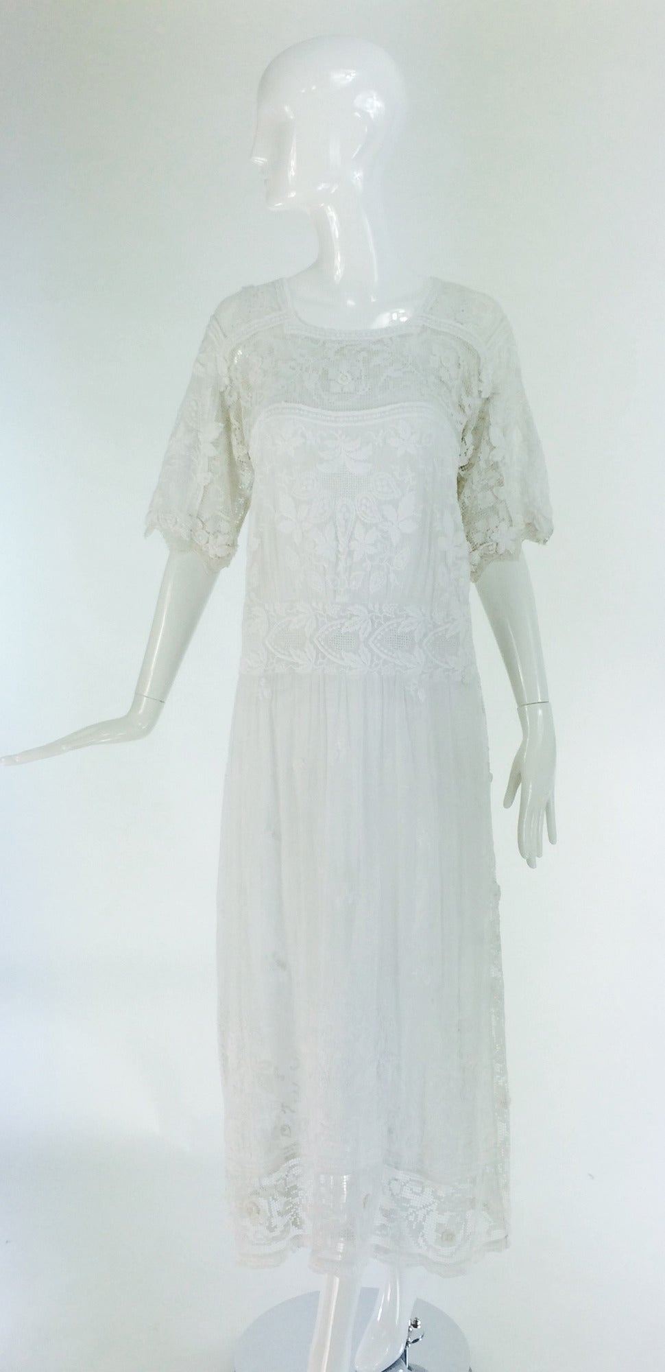 Edwardian embroidered white batiste & handmade lace dress 3