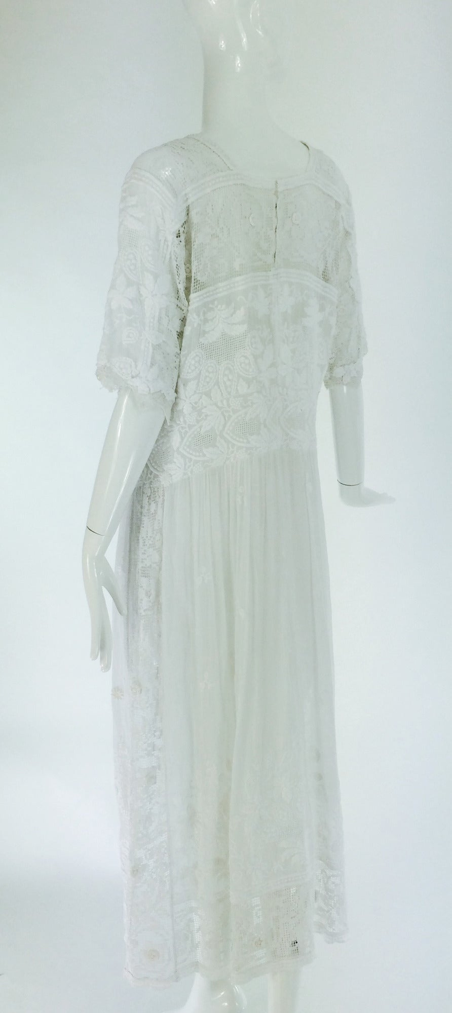 Edwardian embroidered white batiste & handmade lace dress 6