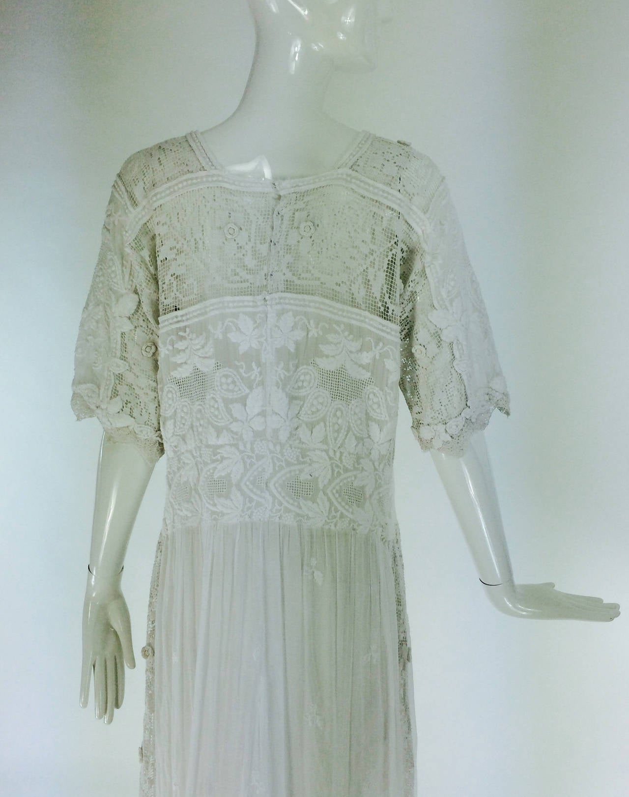 Edwardian embroidered white batiste & handmade lace dress 7