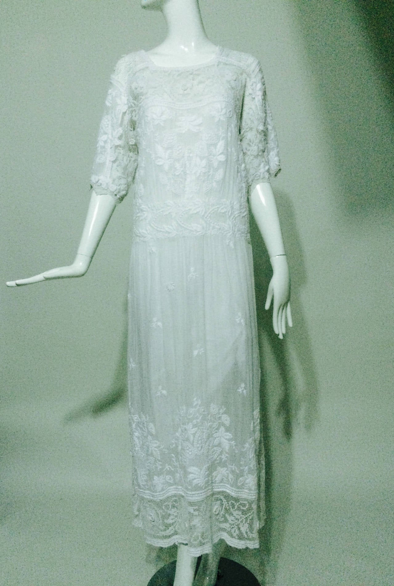 Edwardian embroidered white batiste & handmade lace dress 10